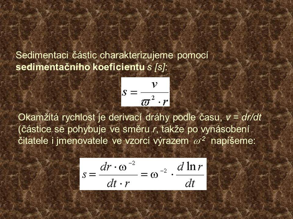 Sedimentaci částic charakterizujeme pomocí sedimentačního koeficientu s [s]: